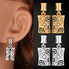 U7® Hollow Crystal Drop Earrings 18K Real Gold Platinum Plated Fancy Earrings Fashion Jewelry for Women High Quality