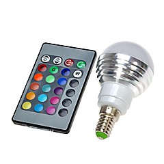 E14 110V 3W RGB LED 16 Color Change Light Lamp Bulb + IR Remote Control