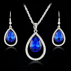 New Austria Crystal Drop Pendants Necklace Drop Earring Jewelry Set for Women Dress (More Colors)