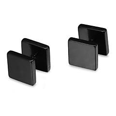 Fashion 10cm Quadrate Symmetry Black Stainless Steel Stud Earrings(1 Pair)