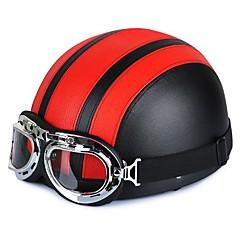 54-60cm Ledermotorradbrille vintage garman Stil Hälfte Helme Motorrad Biker Cruiser Scooter Tourenhelm
