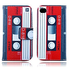 Tape Pattern PU Leather Full Body Case with Card Slot and Stand for iPhone 4/4S