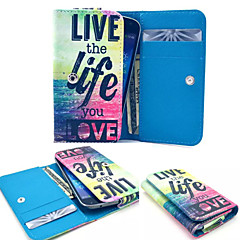 Live the Life PU Leather Wallet style Full Body Case and Card Slot for Samsung Phone Size<12.3*6.5*2