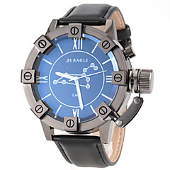 JUBAOLI® Men's Leo Pattern Black Leather Band Quartz Wrist Watch Cool Watch Unique Watch