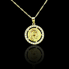 18K Real Gold Plated Coin Zircon Pendant Necklace