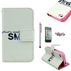 KARZEA™Bright Smile Pattern PU Leather Case with Screen Protector and Stylus and Dust Plug for iPhone 4/4S