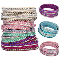 Women's Wrap Bracelet Crystal Basic Unique Design Fashion Multi Layer Crystal Leather Circle JewelryGreen Blue Blushing Pink Light Blue
