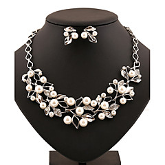 Luxury Elegance Noble Forest Leaf Fallen Leaves Pearl Crystal(Includes Necklace&Earrings) Jewelry Set