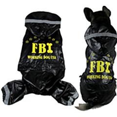 Perros Impermeable Rojo / Negro Primavera/Otoño Letra y Número / Policía/Militar A Prueba de Agua