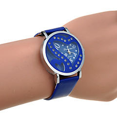 Women's Rhinestone Double Heart Hollow Out PU Quartz Watch(Assorted Color)