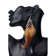 Bohemia Sweet Feather Long Pendant Alloy Earrings