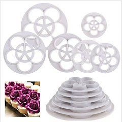 6 db rózsa virág alakú fondant torta paszta sugarcraft díszítő vágó szerszámok