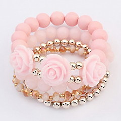 Fashion Alloy/Resin Flower Layers Bracelet Strand Bracelets For Women Daily/Casual