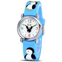 børns tegneserie 3d miljøbeskyttelse silikone quartz ur (pingvin) et015