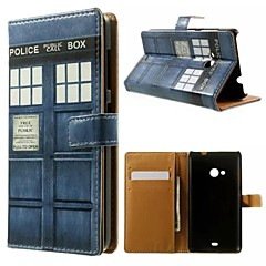 Telephone Booth Pattern Wallet Card PU Case with Stand for Microsoft Lumia 535