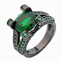 High Quality Fashion Men's Black Gold 10 KT Green Circle Drill Zircon Ring