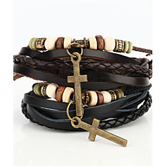 Vilam® Vintage Crucifix Wood Bead Black/Brown Handmade Woven Leather Bracelet Jewelry Christmas Gifts