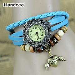 Handcee® Watch Women's PU Quartz Wrist Watch Fashion Watch with Docuration of Heart