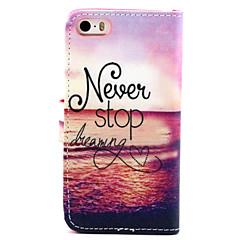 Nunca pare de sonhar padrão de couro pu caso de corpo inteiro com suporte para iPhone 5 / 5s