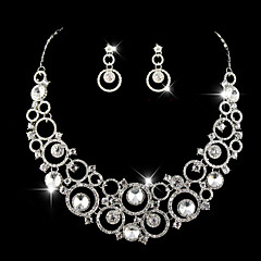 Wedding Bridal Earring Necklace Bracelets Jewelry set With Rhinestone/Crystal