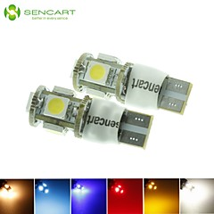 10 x T10 LED 2-mode blu / rosso / bianco caldo / verde / giallo / white1.5w 5x5050smd 90lm per lampadina dell'automobile (DC12-16V)