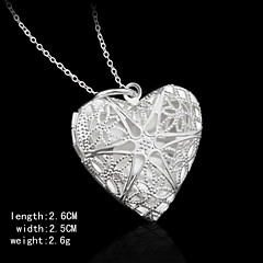 Cubic Zirconia Stone Decoration Charming Silver Heart Shape Women's Pendents