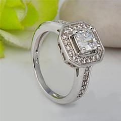 High Quality Fashion Women Platinum 10 KT White Square Zircon Ring