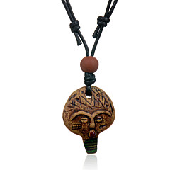 Ethnic Retro Leather Woven  Bead Mushroom Head Ceramics Pendant Adjustable Necklace