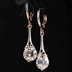 Women's Fashion 18K Rose Gold Filled CZ Stone Pierced Dangle Earring