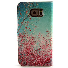 Cherry Blossoms Pattern PU Leather with Case and Card Slot for Samsung Galaxy S6