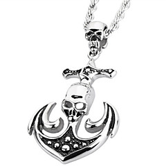 Toonykelly® Stainless Steel Fashionable Skull Skeleton Antique Silver Pendant Necklaces(1pc)