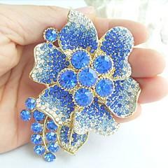 kvinder tilbehør guld-tone blå rhinestone krystal blomst broche art deco krystal broche bouquet kvinder smykker
