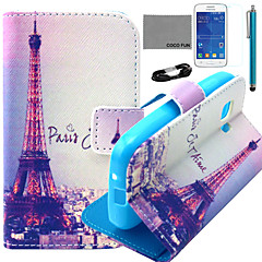 COCO FUN® Eiffel In Night Pattern PU Leather Case with Film and Stylus for Samsung Galaxy Young 2 G130