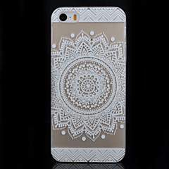 branco padrão de flor rodada transparente impressão pc caso de telefone material para iPhone 5 / 5s