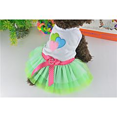 Cat / Dog Dress Green Dog Clothes Summer Hearts / Bowknot