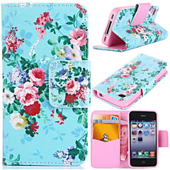 Peony Pattern with Card Bag Full Body Case for iPhone 4/4S