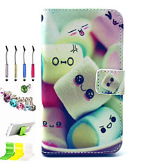 Cotton Candy Pattern PU All Inclusive and Stylus Pen Dust Plug Bracket Assembly for Samsung GALAXY CORE Prime G360