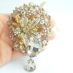 Women Accessories Gold-tone Topaz Rhinestone Crystal Brooch Art Deco Dangling Flower Brooch Bouquet Women Jewelry