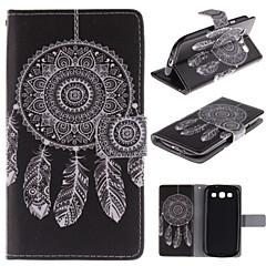 dreamcatcher padrão branca de couro pu caso de corpo inteiro com estande e slot para cartão de i9300 Samsung Galaxy S3