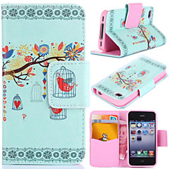 Branch and Birds Pattern with Card Bag Full Body Case for iPhone 4/4S