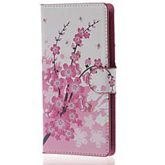 szilva virág pénztárca pu bőrtok állvánnyal és kártyanyílás lg Leon 4G LTE h340n