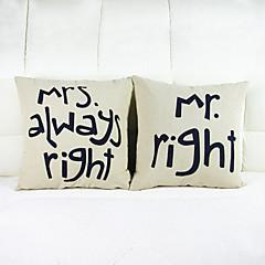 2 kpl mr right heittää tyynyliina tyynyliina sohva sisustus istuinpehmusteet (16 * 16 tuumaa)