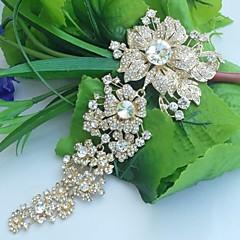 bryllup tilbehør gold-tone klar rhinestone krystal brude broche bryllup deco orkidé blomst broche brudebuket