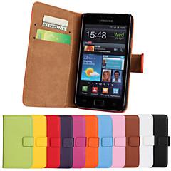 caso aleta carteira de couro genuíno com slot para cartão e ficar caso para Samsung Galaxy S2 i9100 (cores sortidas)
