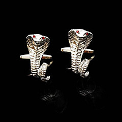 Toonykelly® Fashion Men's Silver Plated Animal Snake Crystal Cufflink Button(1 Pair)