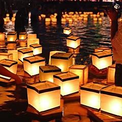 Vierkant wensende lantaarn drijvende water lantaarns lamp licht met kaars vierkante papier wensende drijvende water rivier