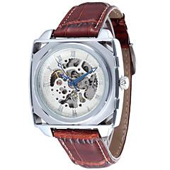 Herren-Legierung Zifferblatt Lederband automatische mechanische wasserdichte Uhr (verschiedene Farben)