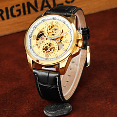 Men's Round Alloy Dial Leather Strap Automatic Mechanical Waterproof Watch(Assorted Colors) Cool Watch Unique Watch