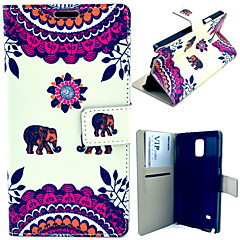Cute Elephant Pattern with Card Bag Full Body Case for Samsung Galaxy Note 4 N9100