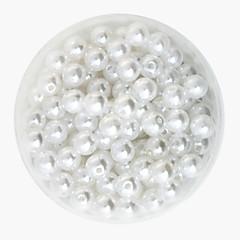 beadia 64g (kb 300db) Az ABS gyöngyház gyöngyök 8mm kerek, fehér színű műanyag laza gyöngyök DIY kiegészítők